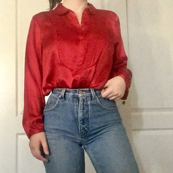 64f11c0ba71c8f Liz Claiborne Tops | Vintage Button Up Silk Blouse | Poshmark